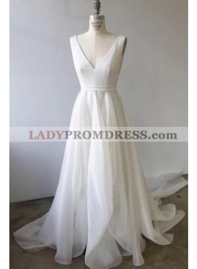 2020 A Line V Neck Organza Backless Wedding Dresses