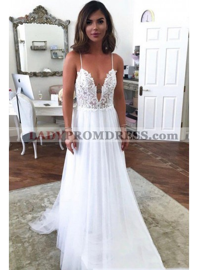 A Line Tulle Open Front V Neck Backless Lace Beach Wedding Dresses 2020
