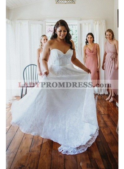 A Line White Sweetheart Lace Plus Size 2020 Beach Wedding Dresses