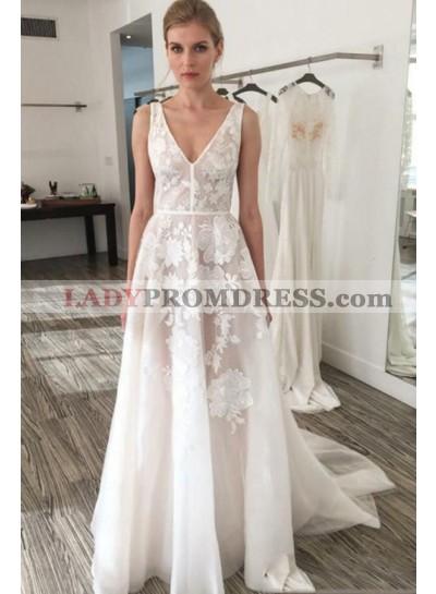 A Line V Neck 2020 Floral Patterns Backless Beach Wedding Dresses