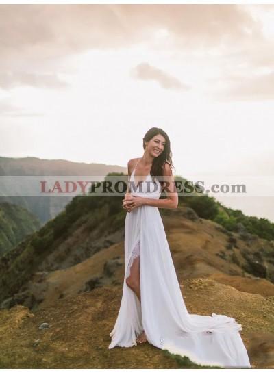 2020 A Line Chiffon Side Slit Lace Halter Backless Beach Wedding Dresses Lace Up