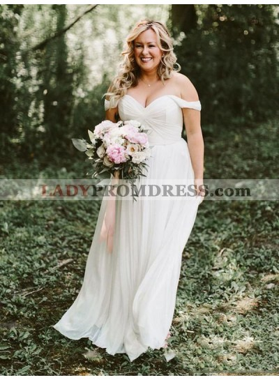 Sweetheart Chiffon Off Shoulder Pleated Plus Size Beach Wedding Dresses 2021