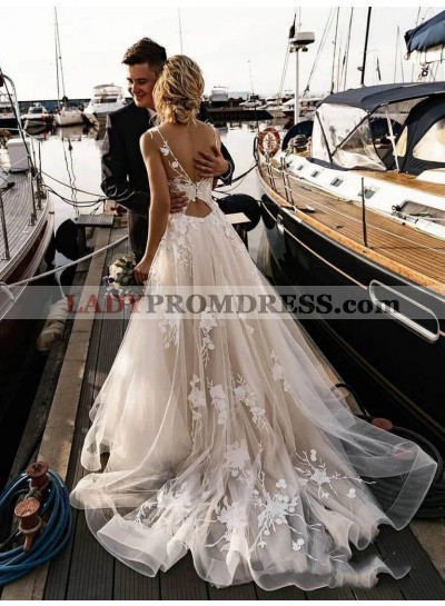 A Line Tulle With Appliques Backless Long Beach Wedding Dresses 2020
