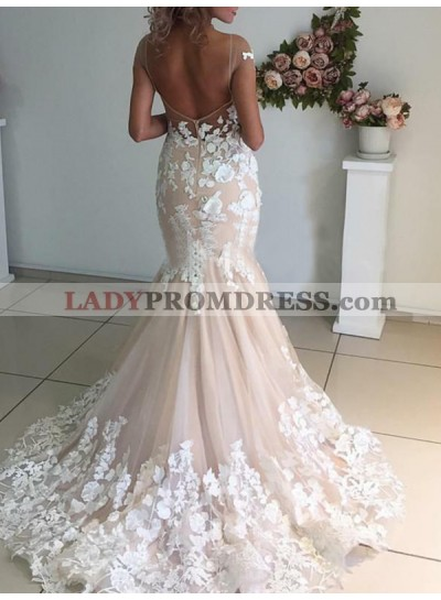 Mermaid Tulle With Lace Appliques Capped Sleeves Champagne Wedding Dresses 2020