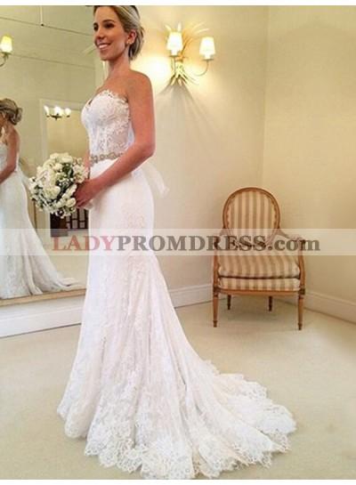 2021 Lace Sweetheart Sheath Beaded Sash Bowknot Back Wedding Dresses