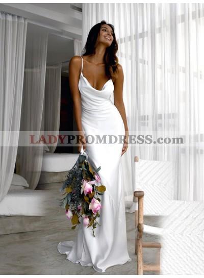 2020 Sheath Elastic Satin Halter Backless Sweep Train Beach Wedding Dresses