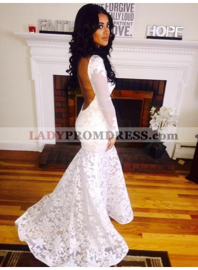 2021 Mermaid Long Sleeves Backless Lace Round Neck Out Door Wedding Dresses