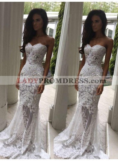 2020 Sheath Sweetheart Lace Mesh With Appliques Sweep Train Wedding Dresses