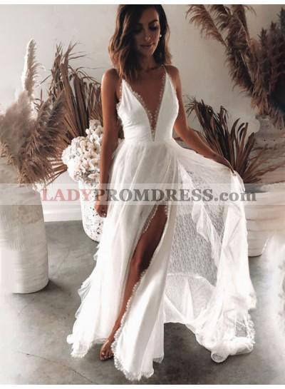 2021 A Line Lace Side Slit Backless Lace Floor Length Beach Wedding Dresses