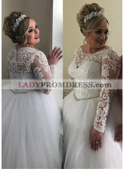 2020 Ball Gown Tulle Long Sleeves Empire Waist Lace Plus Size Wedding Dresses