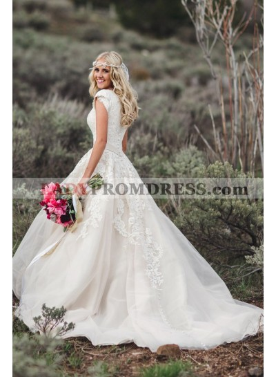 2020 Capped Sleeves Ivory Tulle With Appliques V Neck Beaded Sash Long Lace Wedding Dresses