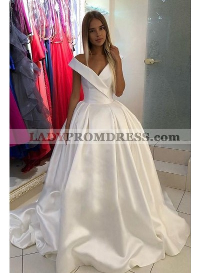 2020 Ivory Off Shoulder Lace Up Back Satin Chapel Train Long Ball Gown Wedding Dresses