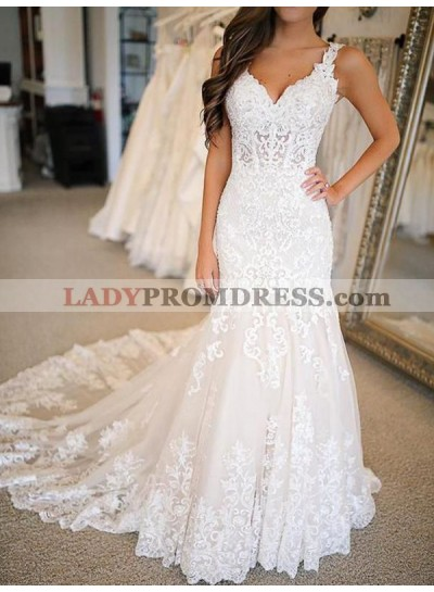 2020 Ivory Sheath Sweetheart Lace Sweep Train Empire Long Wedding Dresses