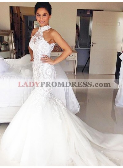 Mermaid High Neck Tulle With Lace Long Wedding Dresses 2020