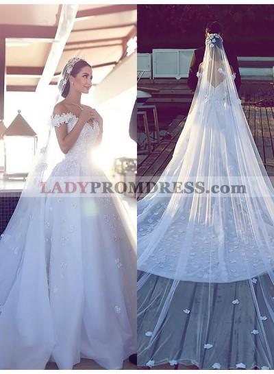 2020 Sweetheart A Line Organza White Off Shoulder Flower Patterns Long Wedding Dresses