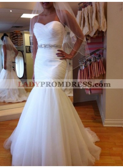 White Mermaid Lace Up Back Beaded Sash Sweetheart Ruched Tulle Wedding Dresses