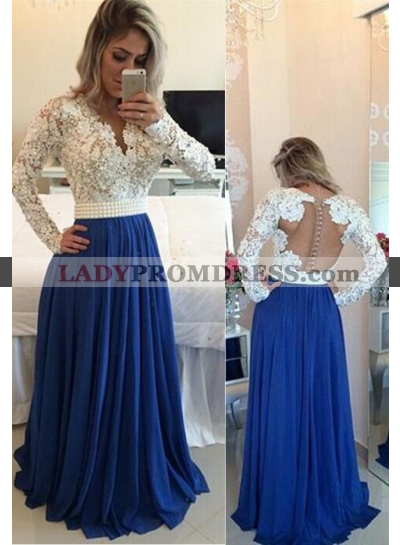 LadyPromDress 2020 Blue Beading Appliques A-Line/Princess Chiffon Prom Dresses
