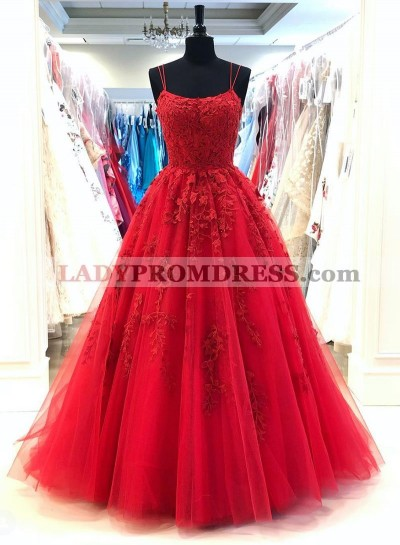 2021 A Line Red Scoop Tulle With Appliques Long Prom Dress