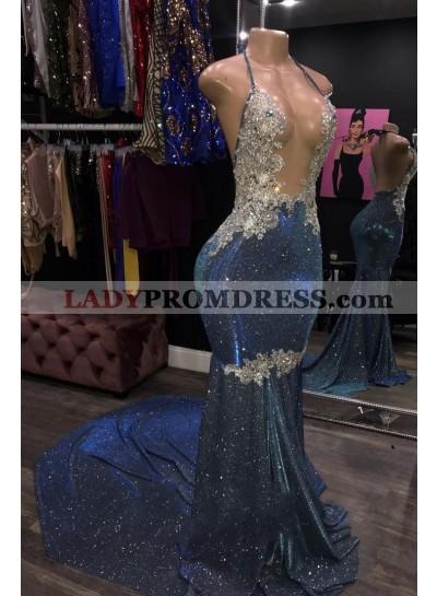 Sheath 2021 Blue Open Front Backless Long Halter Prom Dress