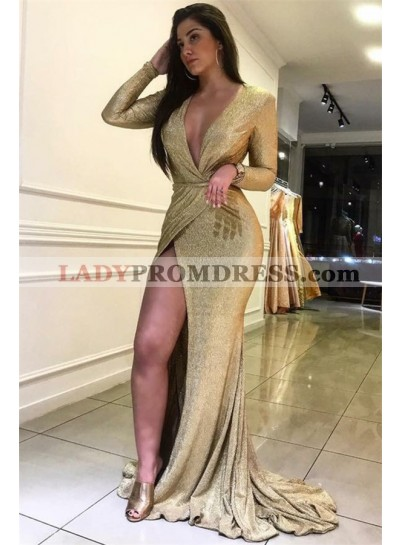 Gold Sheath Side Slit Long Sleeves 2021 V Neck Prom Dress