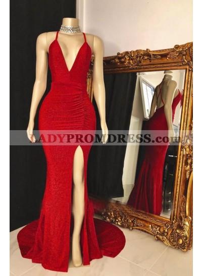 Red Side Slit Sequence V Neck Backless Long Prom Dress 2021