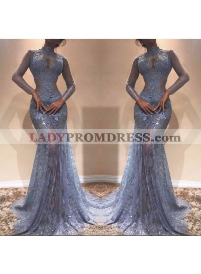 2021 Light Sky Blue Mermaid Long Sleeves High Neck Lace Long Prom Dress