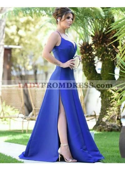 2021 A Line Side Slit Royal Blue Sweetheart Long Prom Dress