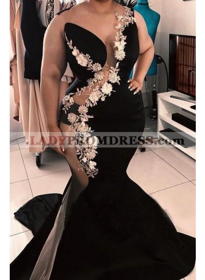 2021 Mermaid Black See Through White Lace Long Prom Dress