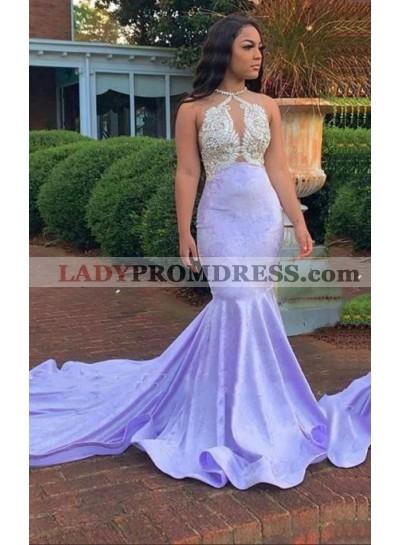 2021 Mermaid Lavender Halter Beaded Long Prom Dress