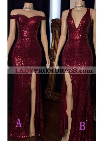 Burgundy 2021 Long Side Slit Sequence Off Shoulder Sweetheart Prom Dress