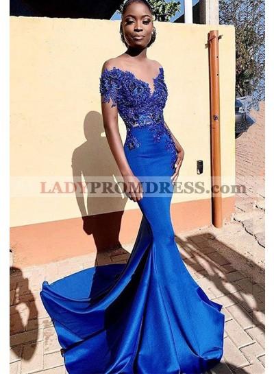 2021 Off Shoulder Sweetheart Satin Mermaid Royal Blue Long Lace Prom Dress