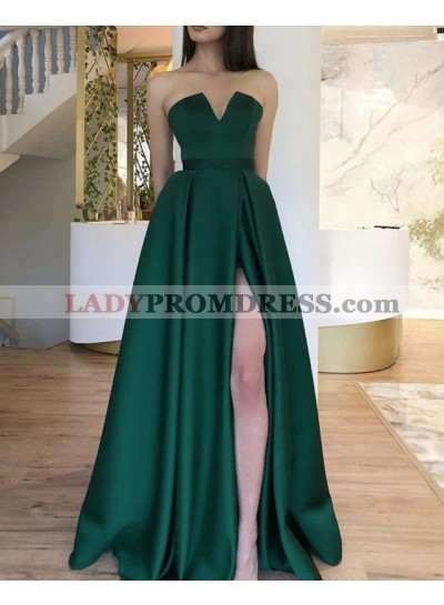 A Line Satin Dark Green V Neck Strapless Side Slit 2021 Long Prom Dress