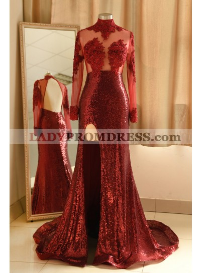 2021 Sheath Burgundy Side Slit Long Sleeves High Neck Long Prom Dress