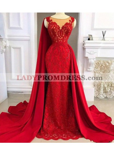 2021 Red Tulle With Appliques Long Satin Sheath Prom Dress