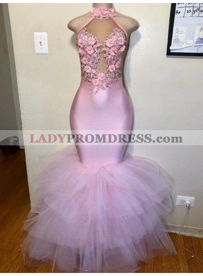 2021 Mermaid Tulle Halter Pink Floral Backless Long Prom Dress