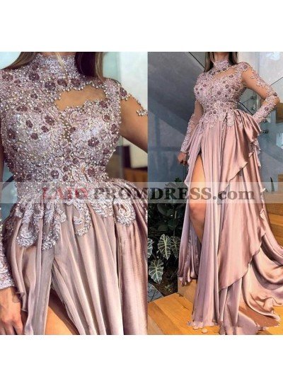 2021 A Line Elastic Stain Dusty Rose High Neck Beaded Side Slit Prom Dress