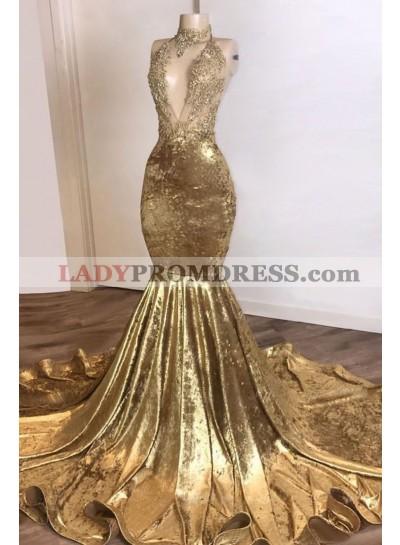 2021 Mermaid Gold Velvet High Neck V Neck Prom Dress