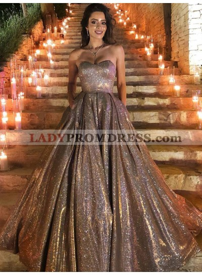 Sweetheart A Line Champagne Shiny Long 2021 Prom Dresses With Pockets