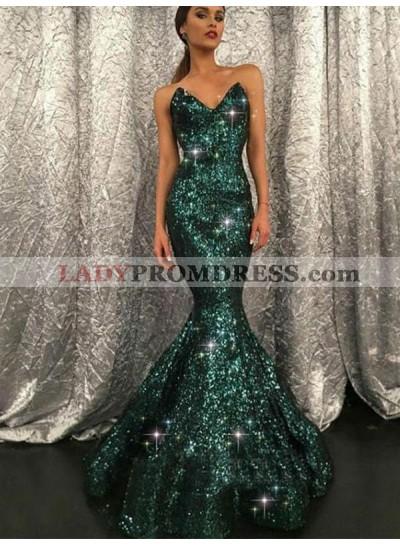 Sweetheart Sequence Mermaid Long Dark Green Prom Dresses 2021