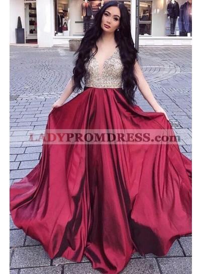 Sweetheart A Line Burgundy Beaded Long 2021 Prom Dresses