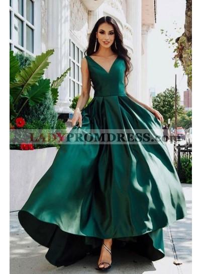 V Neck 2021 A Line Satin High Low Long Teal Prom Dresses
