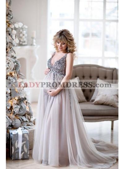 V Neck Beaded 2021 A Line Pregant Tulle Long Silver Prom Dresses