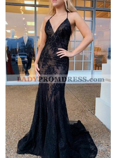 Sweetheart Sheath Halter Lace Backless Long 2021 Black Prom Dresses