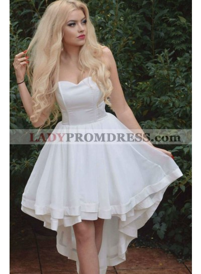 White A Line Sweetheart High Low Satin Short 2021 Prom Dresses