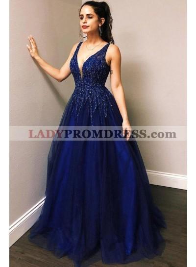 Tulle 2021 A Line Beaded V Neck Long Royal Blue Prom Dresses
