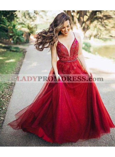 Sweetheart Red 2021 A Line Tulle Backless Beaded Long Prom Dresses