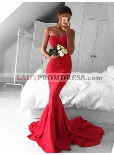Strapless Mermaid Red Satin Long Prom Dresses