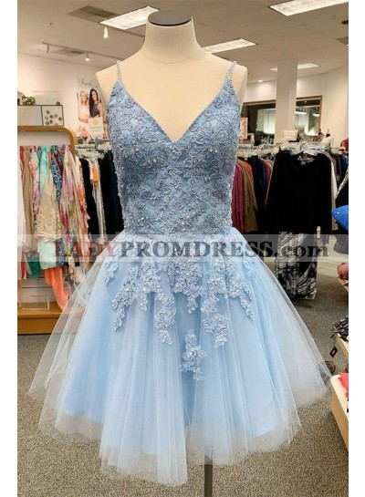 Homecoming Dresses 2021 Blue Sweetheart Tulle With Appliques