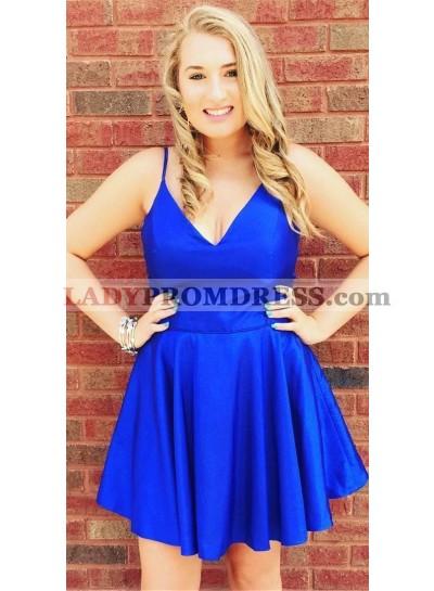 A Line Satin Royal Blue V Neck Knee Length 2021 Short Homecoming Dresses