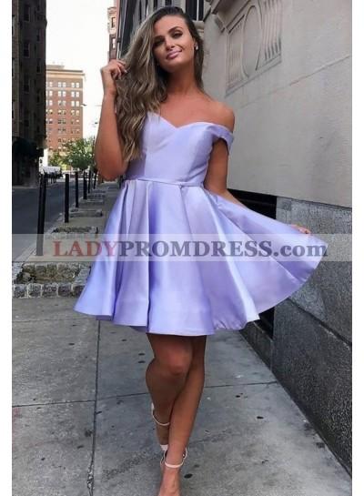 A Line Satin Lavender Off Shoulder Short 2021 Homecoming Dresses